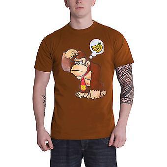 Donkey Kong T Shirt Bananen Logo neue offizielle Herren braun