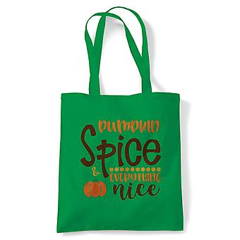 Pumpkin Spice Tote | Halloween Fancy Dress Costume Trick Or Treat | Reusable Shopping Cotton Canvas Long Handled Natural Shopper Eco-Friendly Fashion