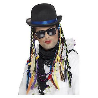 Chapéu de camaleão, preto, Bowler, com tranças multi cor extravagante vestido acessório