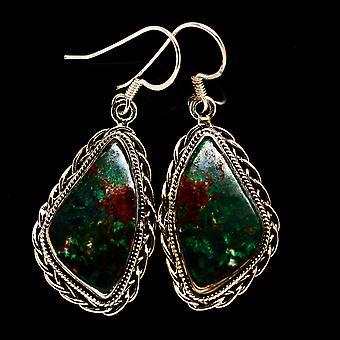 Chrysocolla 925 Sterling Silver Earrings 1 7/8