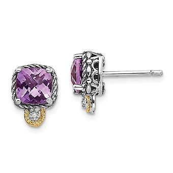 925 Sterling Silver With 14k Amethyst and Diamond Post Earrings Jewelry Gifts for Women