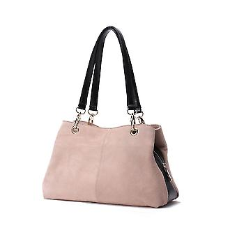 "Suede Twin Handle Central Compartment 12.0"" Hand Bag"