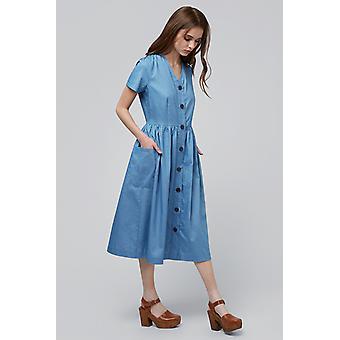 Louche Zelda Button Through Midi Dress Chambray