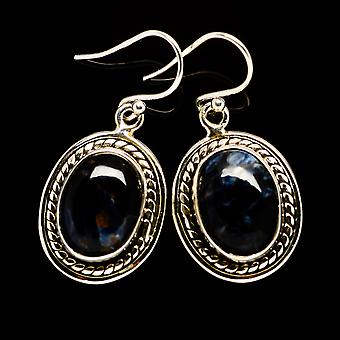 """Pietersite oorbellen 1 1/4 """"(925 sterling zilver)-handgemaakte Boho vintage sieraden EARR392201"""