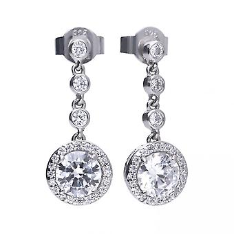 Diamonfire Silver White Zirconia Round Earrings E5588
