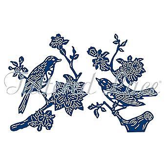 Jeu de mors métallique dentelle en lambeaux un oiseau dans la main fleur branche etl316