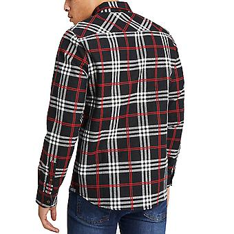 Brave Soul Herren Enrico Langarm Button Down Brushed Check Shirt Top - schwarz