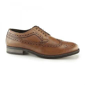 Silver Street London Downing Mens Leather Longwing Derby Brogues Tan