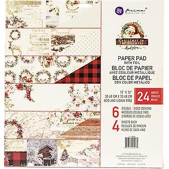 بريما التسويق عيد الميلاد في البلاد 12x12 بوصة ورقة وسادة
