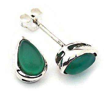 Boucles d'oreilles Argent 925 Argent Vert Onyx pierre verte (No : MOS 076-14)