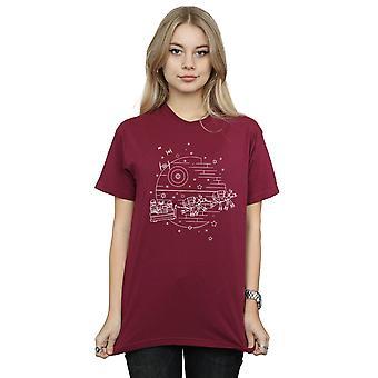 Star Wars Women's Death Star Sleigh Boyfriend Fit T-Shirt
