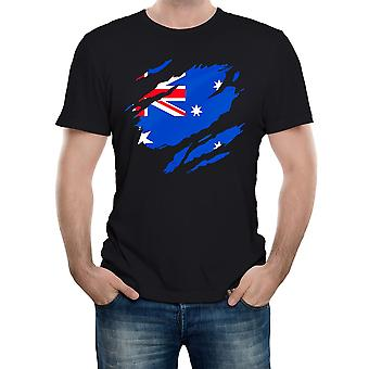 Reality glitch torn australian flag mens t-shirt