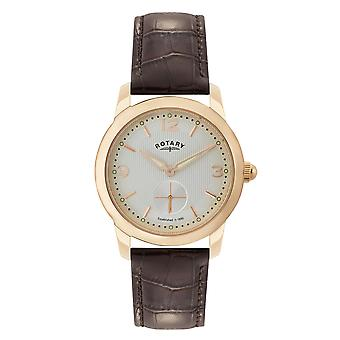Rotary Cambridge Rose Gold Coloured Brown Leather Strap Mens GS02702/01 38mm