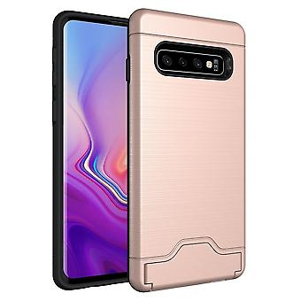 Voor Samsung Galaxy S10 Case Rose Gold Slim TPU+PC Brushed Shockproof Cover