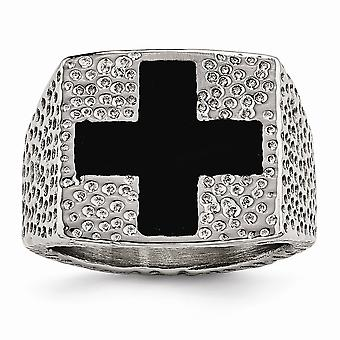 18.08mm Stainless Steel Textured Black Enameled Religious Faith Cross Ring Jewelry Gifts for Women - Ring Size: 9 to 12