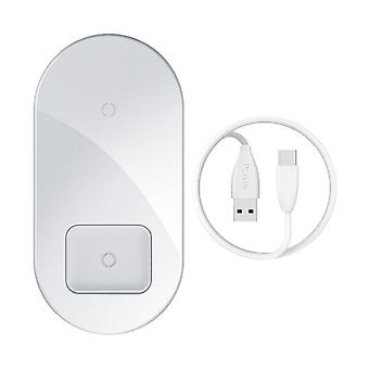 Wireless charger for 2 devices – white
