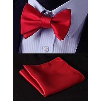 HISDERN Men's Solid Jacquard Woven Self Bow Tie Set One, Red-1, Size One Size