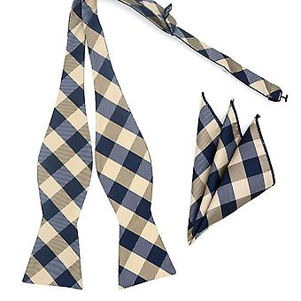 Grey check pattern self tied bow tie & pocket square set