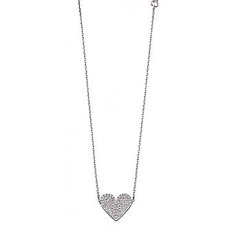 Fiorelli Silver & Clear Cz Pave Heart Necklace