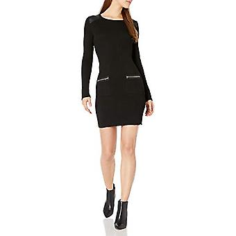 A. Byer Juniors Long Sleeve Crew Neck Sweater Dress, Black, M