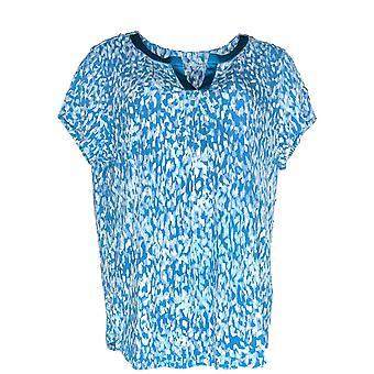 Carole Hochman Frauen's Pyjama Top Frauen's Satin Trim Blau A346785