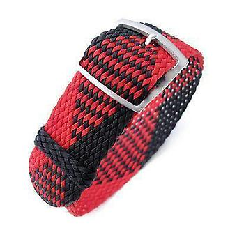 Strapcode fabric watch strap 20, 22mm miltat perlon watch strap, black & red, sandblasted ladder lock slider buckle