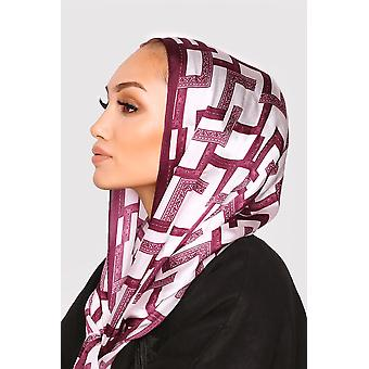 Silk satin scarf in beige & prune print
