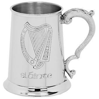Irische Harfe Slainte Zinn Tankard - 1 Pint