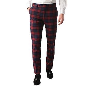 Avail London Mens Burgundy Tartan Suit Trousers Slim Fit