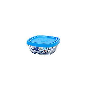 Duralex Freshbox Square Bowl with Blue Lid, 9cm
