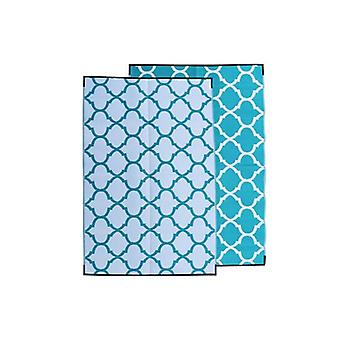 Moroccan Recycled Plastic Mat Teal And White