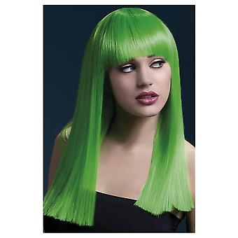 Wigs  Luxurious wig neon green long with fringe Alexia