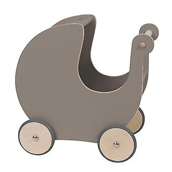 Sebra - wooden dolls pram - warm grey