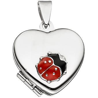 Lasten medaljonki Heart kanssa Leppäkerttu 925 Sterling Silver avata 2 Kuvat