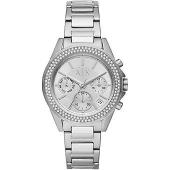 Armani Exchange Ladies 'Drexler' Round Silver Chronograph Dial Stone Bezel Stainless Steel Bracelet Watch AX5650