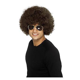 Hombres adultos negro años 70 Funky peluca Afro accesorio del vestido de lujo