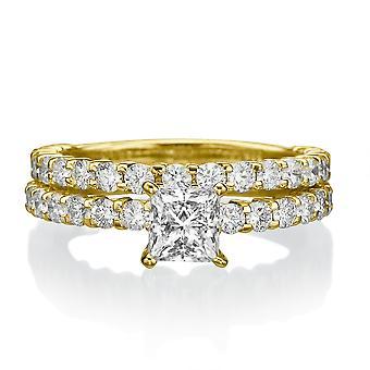 3 1/3 karat G SI2 diamant Engagement Ring 14k gul guld brude sæt Engagement indstille prinsesse cut