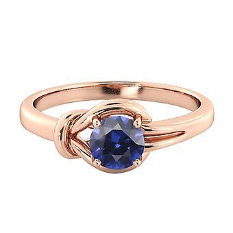 0,50 ctw Blue Sapphire Ring 14K Rose Gold knoop 4 uitsteeksels ronde