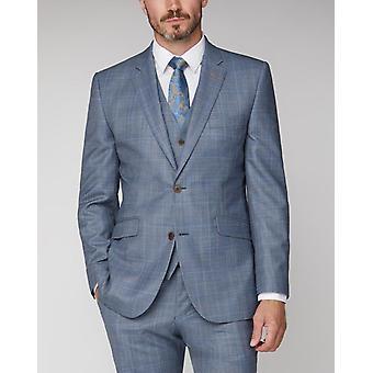 Scott By The Label Light Blue & Tan Check Suit Jacket