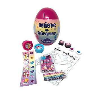 Childrens/Kids Unicorn Egg Shaped Stationery Set