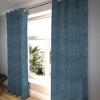 McAlister tekstiler teksturert chenille denim blå gardiner