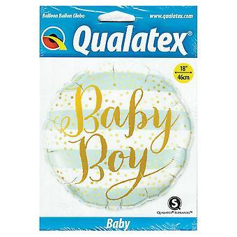 Qualatex 18 inch Baby Boy gestreepte ronde folie ballon