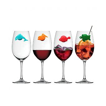 Silicone Marine Animals Wine Glass Marker- Creative Drinking Cup Identifier