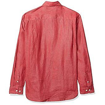 28 Palms Men's Relaxed-Fit 100% Linnen shirt, Nantucket Red, Medium