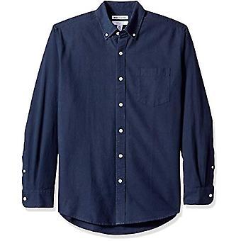 Essentials Men's Regular-Fit Long-Sleeve Solid Pocket Oxford Shirt, Na...