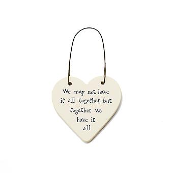 Together We Have It All - Mini Houten Opknoping Hart - Cracker Filler Gift