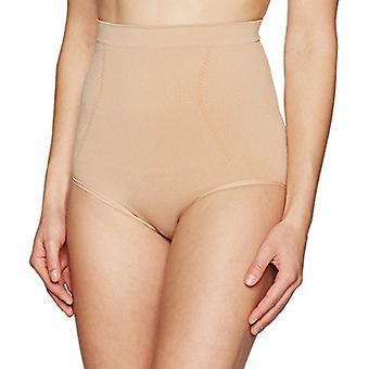 Brand - Arabella Women's Seamless Waist Cinching Shapewear Brief, Nude, Large