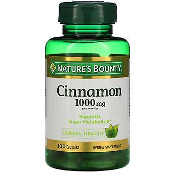 Nature's Bounty, Cinnamon, 1,000 mg, 100 Capsules