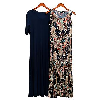 Attitudes by Renee Petite Dress Set of 2 Printed & Solid Maxi Blue A375422