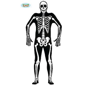 Fantasia esqueleto mens de macacão preto ossos Carnaval de Halloween